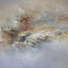 """abstract acrylic marble linen canvas 120x120cm send in wood crate """"Winter wind"""""""