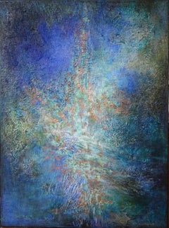 """abstract """"Kindness"""" acrylic marble oxidation linen canvas 81x60cm wood crate"""