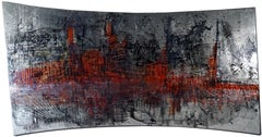 """abstract """"Flamboyant"""" resin pigments on wood panel 120x210cm send in wood crate"""