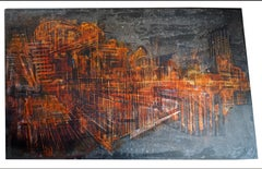 """abstract """"Selected pieces"""" varnish masks on wooden panel 77x125cm"""