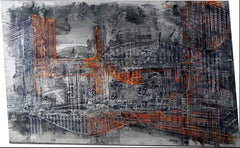 """abstract """"From one bridge to another"""" varnish pigment on wood panel 77x122 cm"""