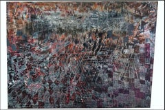 """abstract """"Redial"""" pigment on wood panel  77x115cm send in wood crate"""