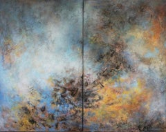 """abstract acrylic linen canvas 116x146 diptych """"Heaven within"""" in wood crate"""