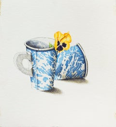 2 Marbled Cups with Flower