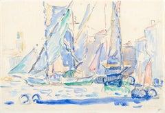 Saint-Tropez, Tartanes au port, Paul Signac, Watercolor, Impressionism, 1900's