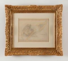 Femme étendue s'étirant, Auguste Rodin, Early 20s century, unique work on paper