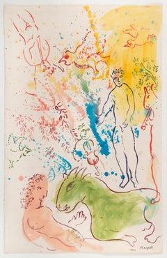 La fête autour du nu rose, gouache, watercolor, pastel, paper, 1980's, modern