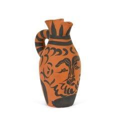 Yan le Barbu, Pablo Picasso, Pitcher, Earthenware, Terracotta, Sculpture, Black