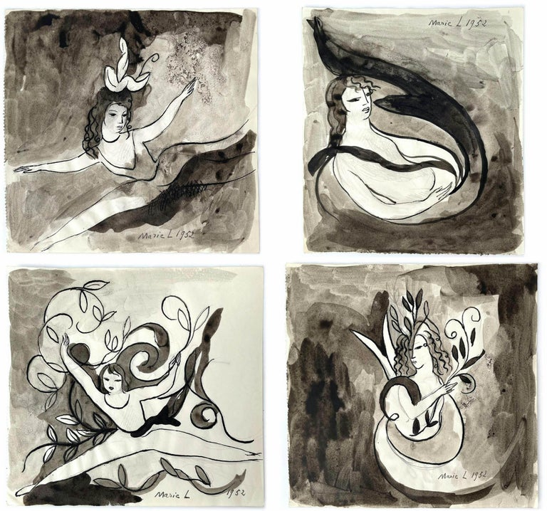 Femmes, Marie Laurencin, 1950's, Ink on Paper, Post-Impressionism, Woman Art  1952 Indian ink and watercolor on paper 13.5 x 14.3 cm, 13.5 x 14.5, 13.8 x 12.5, 13.4 x 14.5 cm Signed and dated  This series of watercolors comes from Roger Nimier's