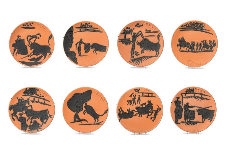 Corrida Scenes, Pablo Picasso, Set, Ceramics, Design, Art, Sculpture, Postwar - Orange Figurative Sculpture by Pablo Picasso