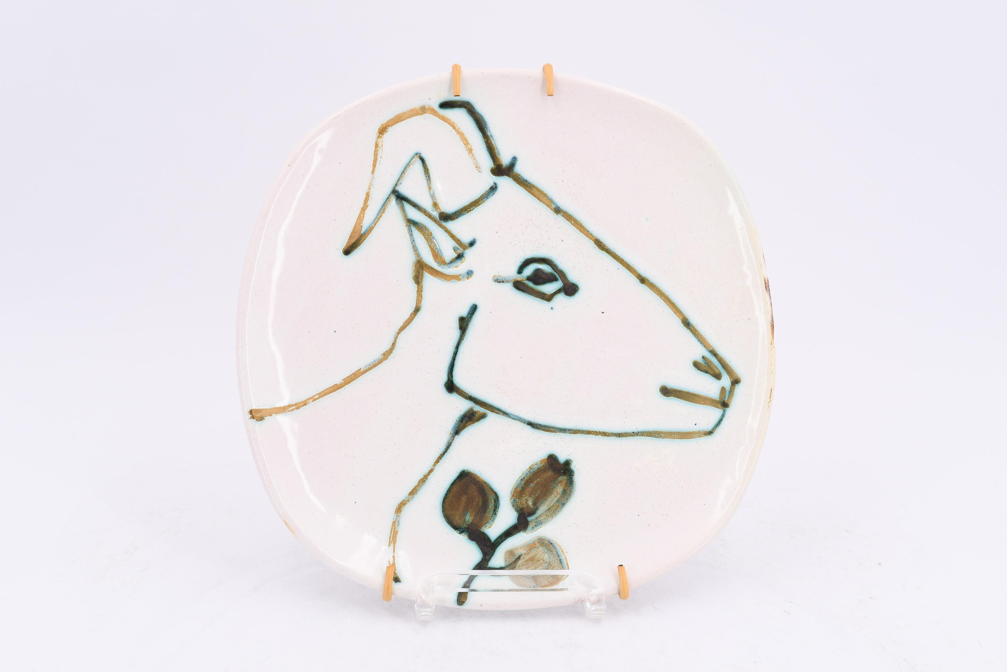 Tête de chèvre de profile, Pablo Picasso, Plate, ceramic, earthenware, sculpture