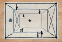 La Rencontre, Rug, Diego Giacometti, 1980's, Hand-woven, Design, Interior