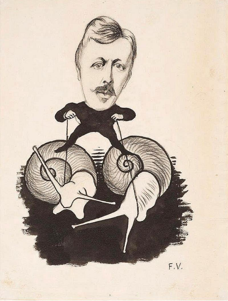 Emile Yung Portrait, Felix Vallotton, Work on paper, 1890's, Impressionism