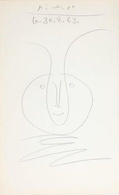 Tête de faune, Pablo Picasso, work on paper, 1960's, Portrait, Naif, Pencil