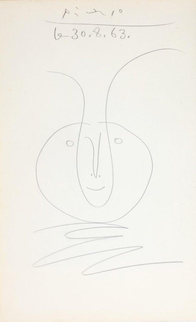 Tête de faune, Pablo Picasso, work on paper, 1960's, Portrait, Naif, Pencil - Art by Pablo Picasso