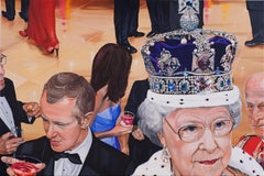 Contemporary Fabulous Portrait of The Queen with Detailed Royal Crown/Jewels
