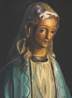 Contemporary Oil of Antique, Rustic Porcelain Christian/Catholic Virgin Mary