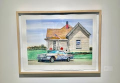 Contemporary American Water Color of Car and LA Home and Texas Landscape