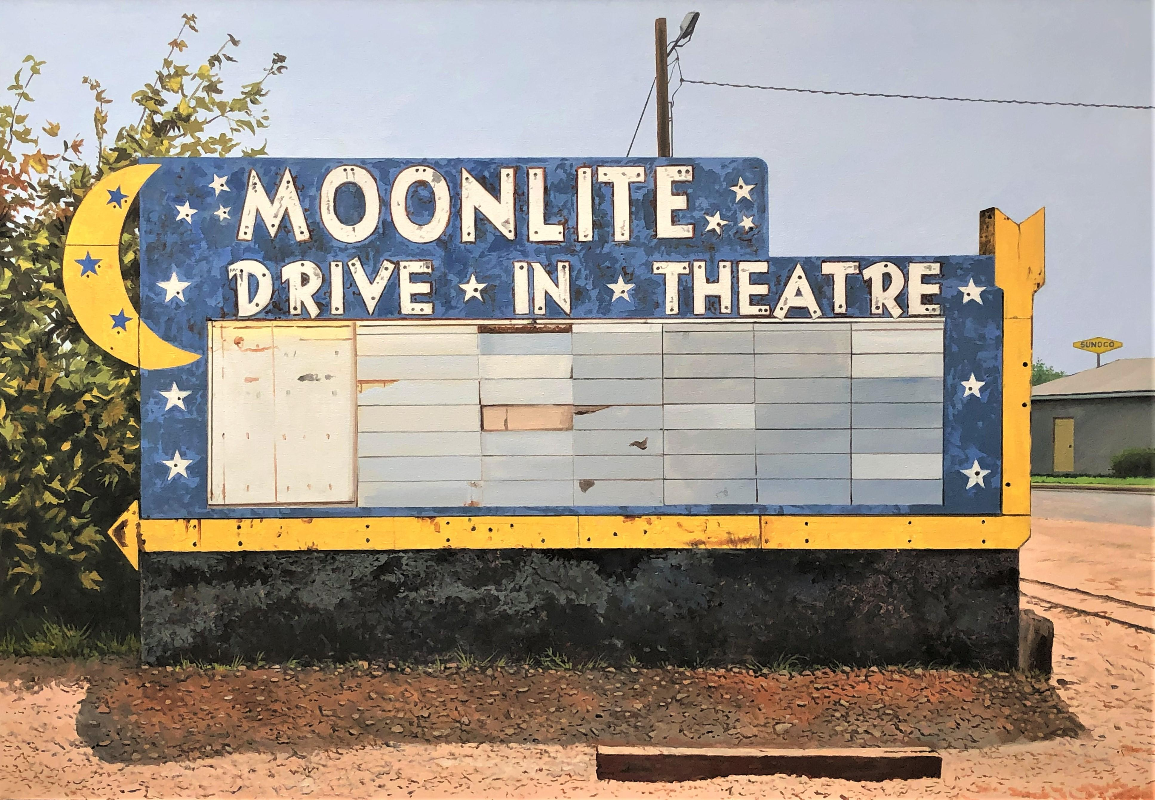 Contemporary American Nostalgic Sign of MoonLite Drive-In Theatre in West Texas