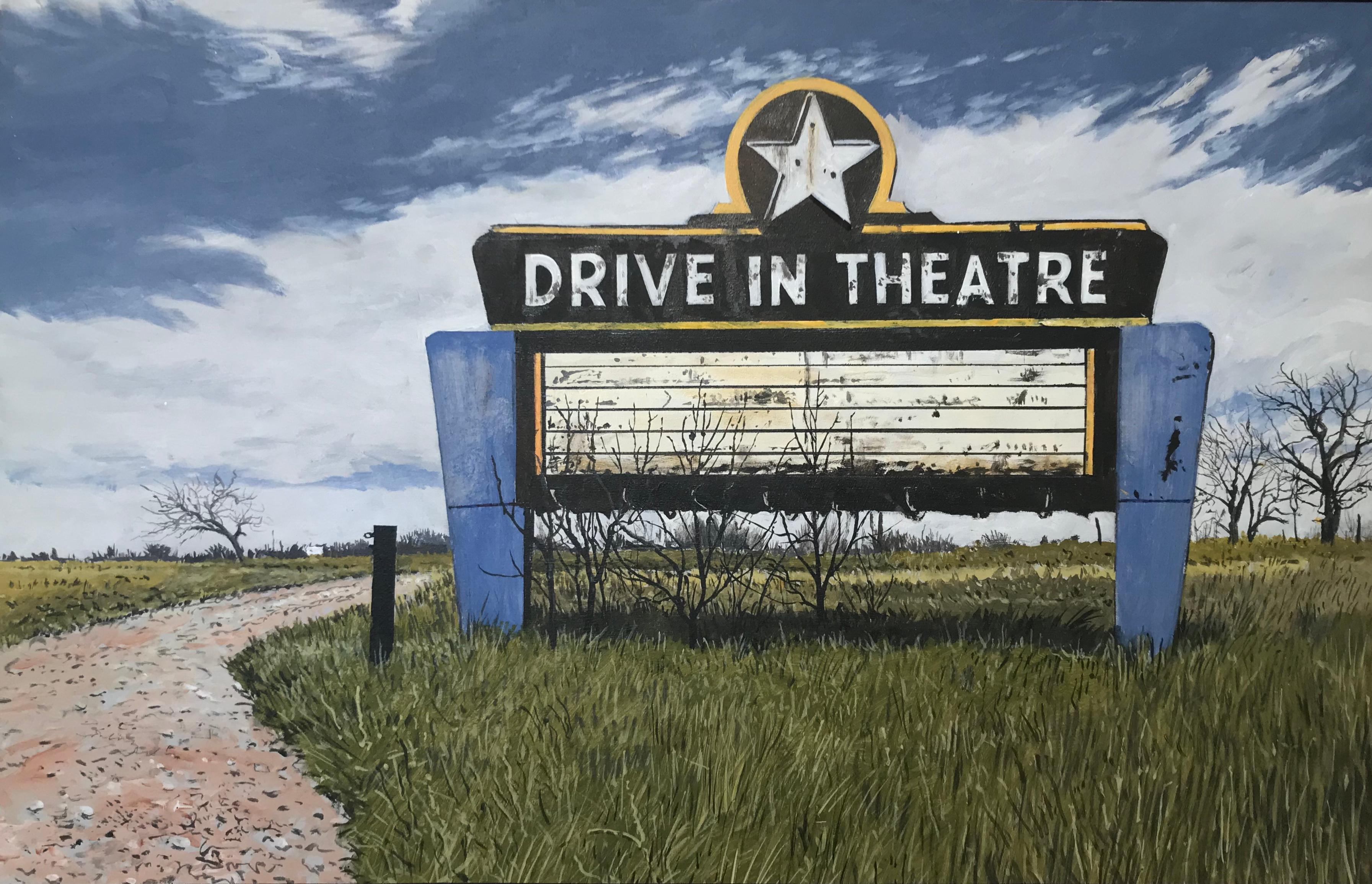 Contemporary American Nostalgic Sign of Drive In Movie Theatre Sign in Texas
