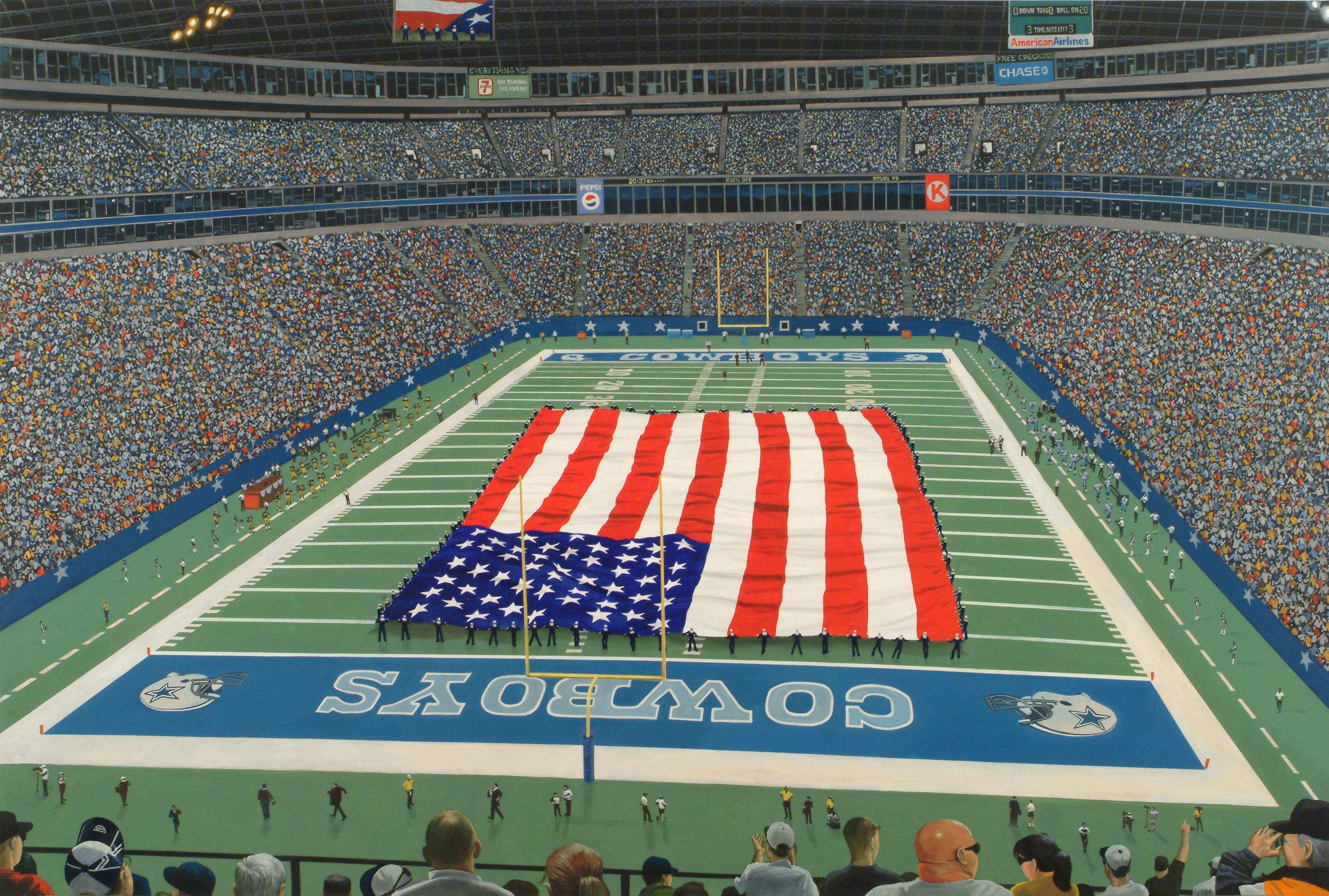 Contemporary Oil of Dallas Cowboys Tribute Football Field Celebrating Texas