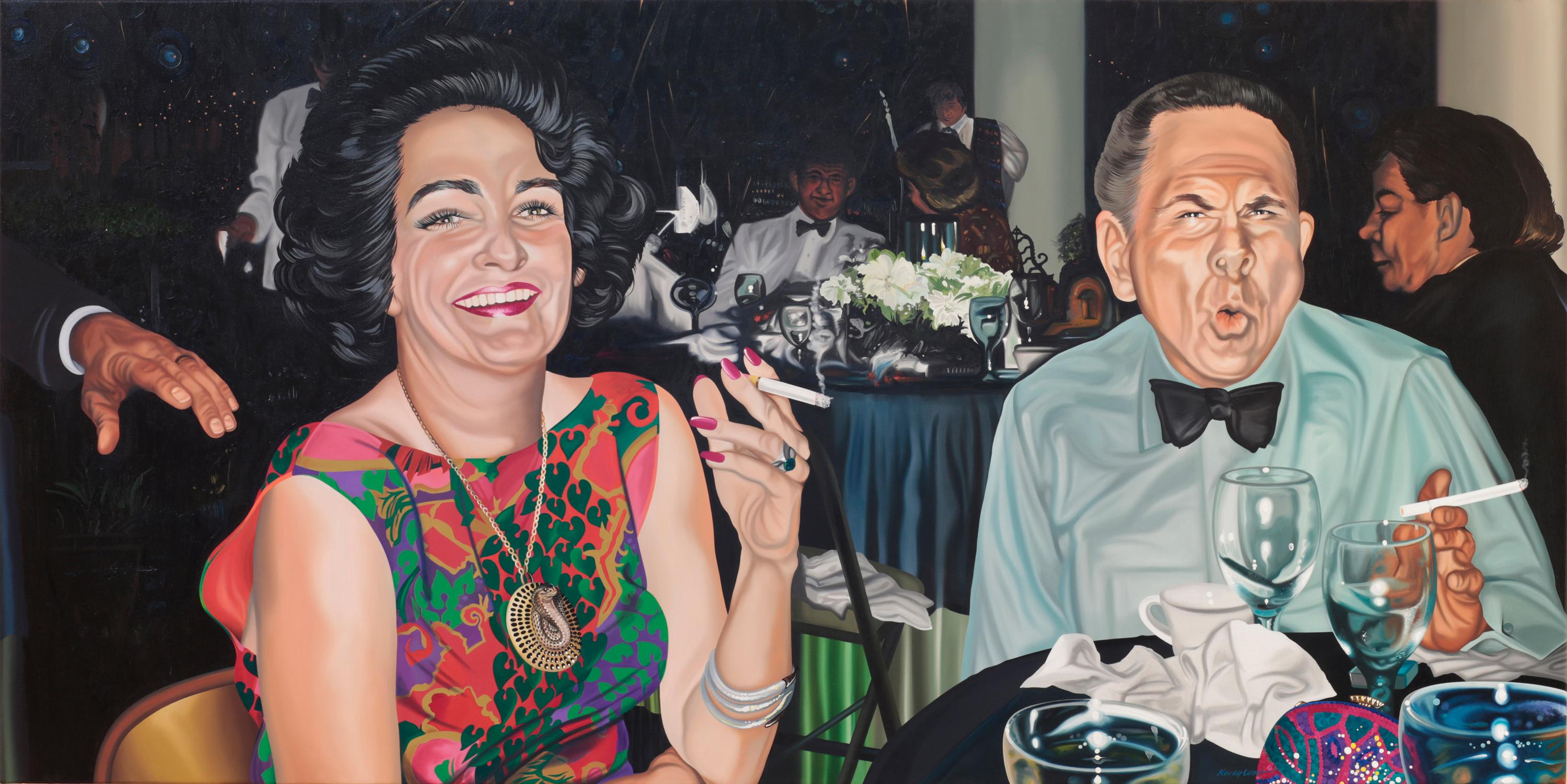 Large Contemporary Oil Portrait of Party People Smoking, Laughing, and Drinking