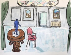 Contemporary Oil of Art Deco Home Decor w/ Blue Masculine Statue in Drawing Room
