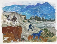 Contemporary Abstract Impressionist Cowboy Scene of Western Landscape w/ Horse