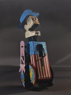 Medium Oil painting of Vintage, Antique, Collectable Toy Wearing American Flag