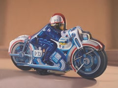 Contemporary Oil of Vintage, Antique, Collectable Toy Police Man on Motorcycle