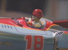 American Contemporary Oil of Vintage/Antique Toy Race Car Driver by Texas Artist