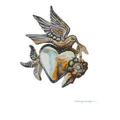 "Nancy Lamb, Tin Love Bird, 2020, Watercolor on Paper, 6 x6"""