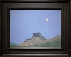 'Casa Luna.' Contemporary American Landscape Oil Painting of the Moon, & Rock