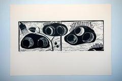 I see Afro-Futurism movements, Linoleum block print on ivory rosaspina fabriano