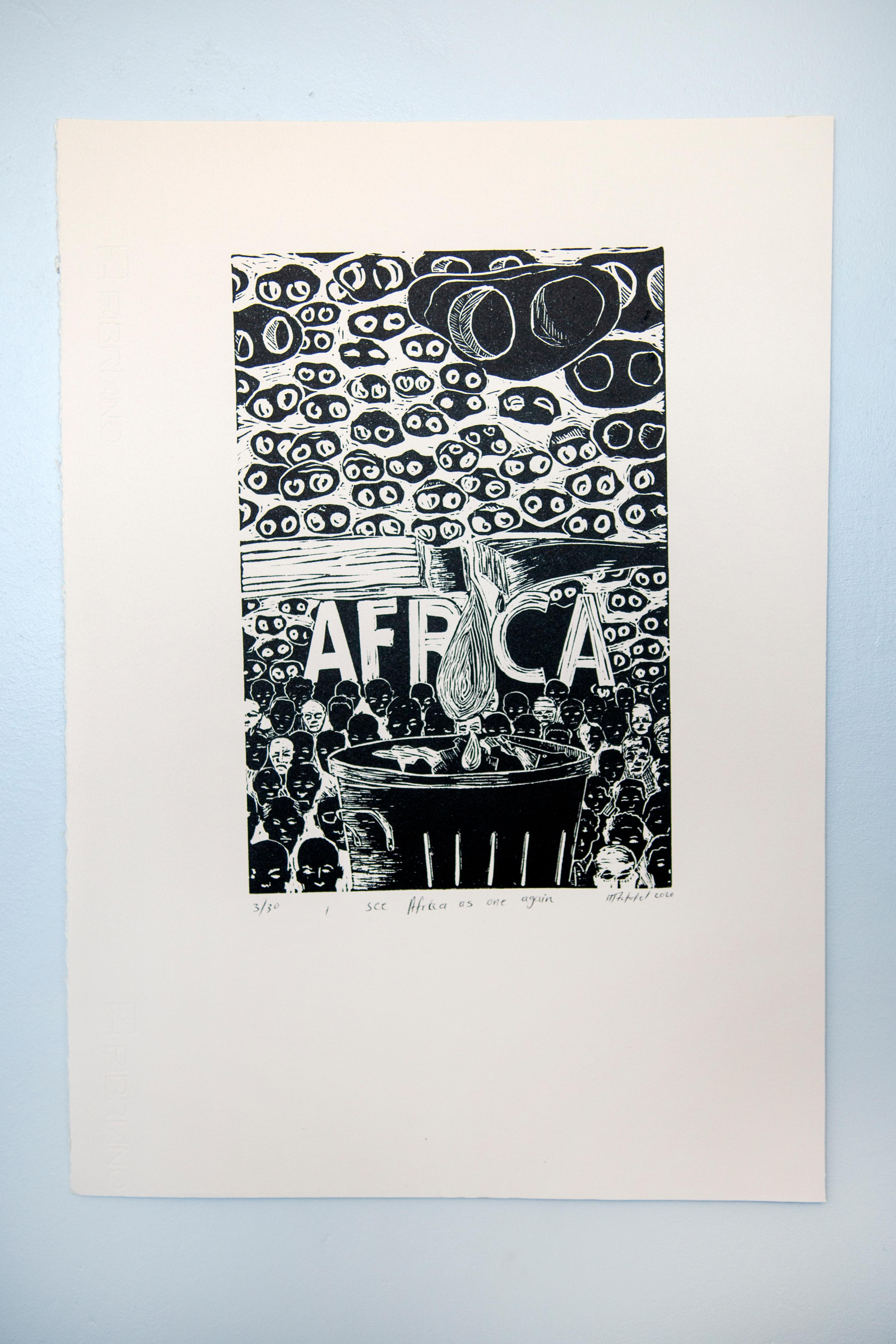 I see Africa as one again. Linoleum block print on ivory rosaspina fabriano