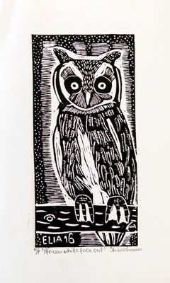 African White Faced Owl, Elia Shiwoohamba, Linoleum block print on paper