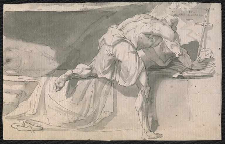 John Hamilton Mortimer Figurative Art - Eighteenth century Old Master drawing - St Jerome