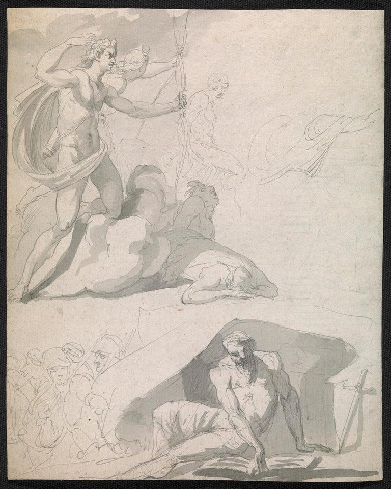 John Hamilton Mortimer Figurative Art - Eighteenth century Old Master drawing - Apollo destroying Niobe's children
