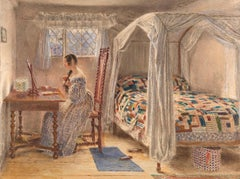 19th century watercolour of a Girl at her Dressing Table