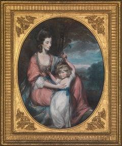 18th century pastel portrait of Lady Augusta Corbett and her son, Stuart