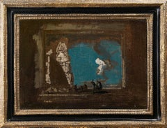 20th century oil depicting an Architectural Fantasy with Figures