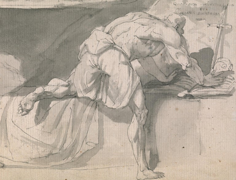 Eighteenth century Old Master drawing - St Jerome - Old Masters Art by John Hamilton Mortimer