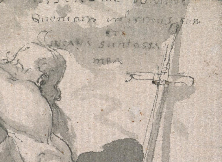 Eighteenth century Old Master drawing - St Jerome - Brown Figurative Art by John Hamilton Mortimer