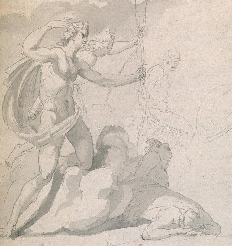 Eighteenth century Old Master drawing - Apollo destroying Niobe's children - Art by John Hamilton Mortimer