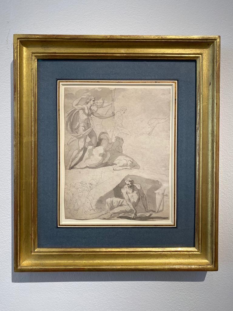Eighteenth century Old Master drawing - Apollo destroying Niobe's children - Beige Figurative Art by John Hamilton Mortimer