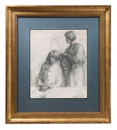 20th century British Drawing - Les Deux Landaises (Evening)