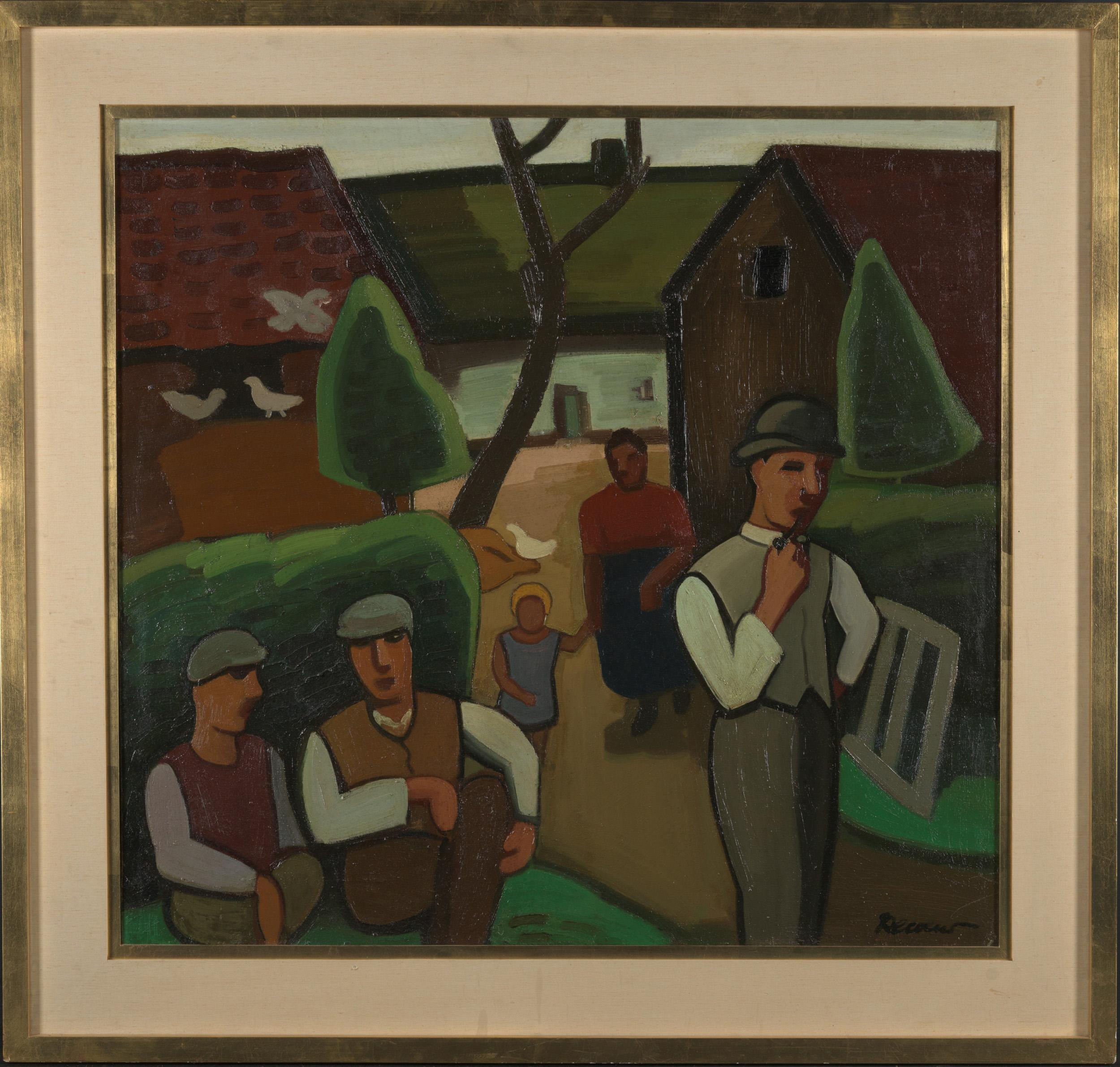Farming Family on a Sunday Morning, Oil on Canvas. Framed and Signed