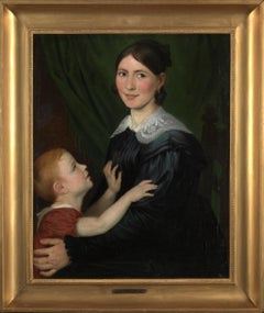 19th C, Romantic, Portrait of a Mother and her Son, Oil on Canvas