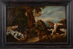 17th C, Baroque, Hunting Scene, Wild Boar Hunt in the style of Frans Snijders