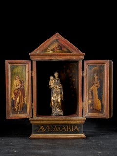 18th C, Flemish School, Madonna and Child in a Wooden Shrine